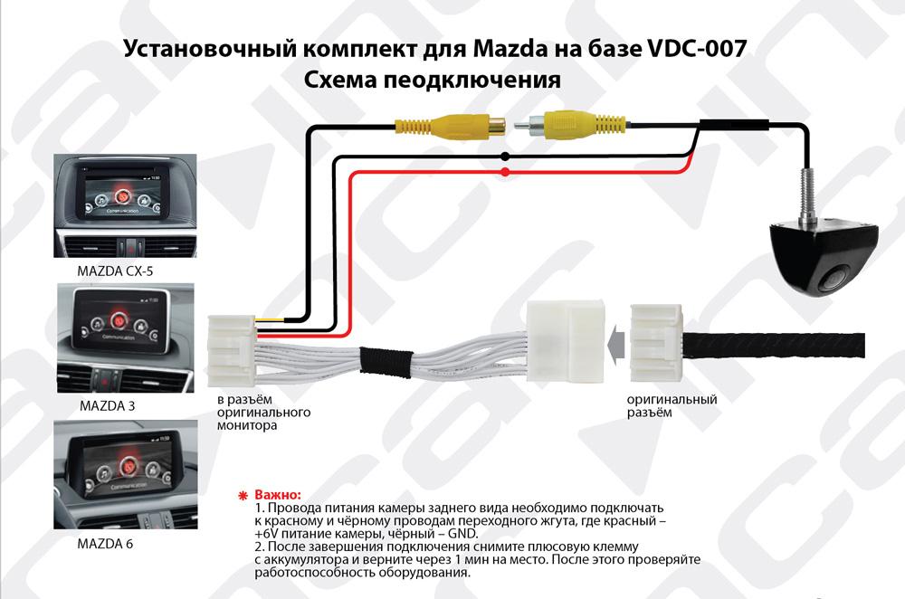 Камера для оригинального ГУ Mazda 2014+